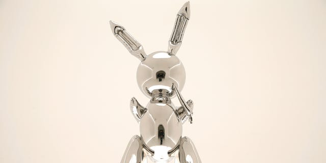 """A sculpture of a"""" Rabbit"""" by Jeff Koons sold at a record $91.07 million at Christie's Auction House in New Yorkon Wednesday."""