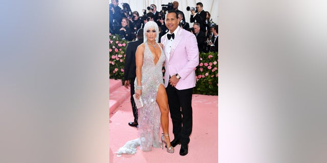 Jennifer Lopez and Alex Rodriguez pose at the 2019 Met Gala in New York City.