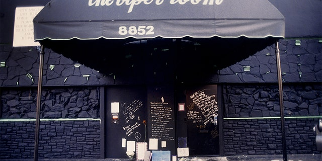 The Viper Room the day after the death of actor River Phoenix. Fans have left flowers, candles and notes at the spot where he collapsed on November 1, 1993 in Los Angeles, California. (Photo by Michael Ochs Archives/Getty Images)