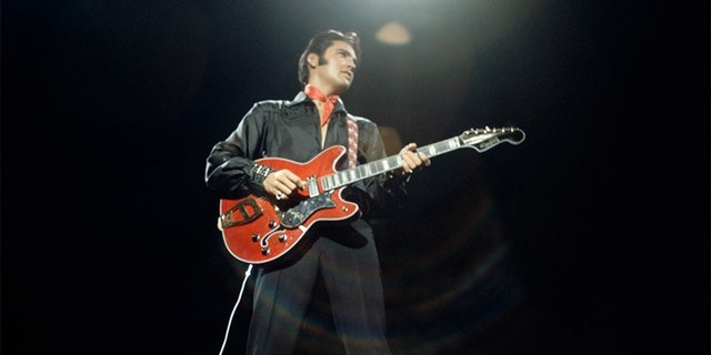 Elvis Presley during a performance at NBC Studios in Burbank, CA.