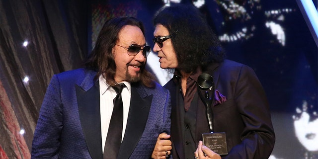 Inductees Ace Frehley and Gene Simmons of KISS speak onstage at the 29th Annual Rock And Roll Hall Of Fame Induction Ceremony at Barclays Center of Brooklyn on April 10, 2014, in New York City. (Photo by Kevin Kane/WireImage for Rock and Roll Hall of Fame)