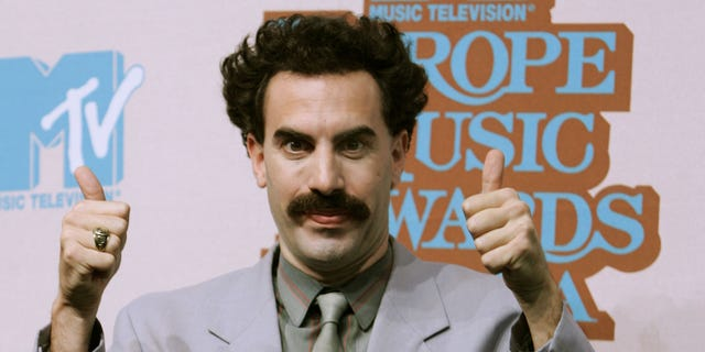 "Sacha Baron Cohen playing the part of his comedy character ""Borat"" attends a photocall ahead of the MTV Europe Music Awards on November 2, 2005 in Lisbon, Portugal. 'MTV European Music Awards will take place on November 3."