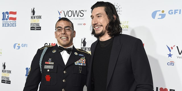 Staff Sergeant, US Army Michael Kacer and Actor Adam Driver attend as The New York Comedy Festival and The Bob Woodruff Foundation present the 10th Annual Stand Up for Heroes event at The Theater at Madison Square Garden on November 1, 2016, in New York City. (Photo by Kevin Mazur/Getty Images for The Bob Woodruff Foundation)