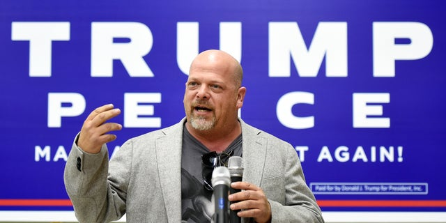 Rick Harrison speaking at a get-out-the-vote rally for then-Republican presidential nominee Donald Trump at Ahern Manufacturing on Nov. 3, 2016 in Las Vegas.