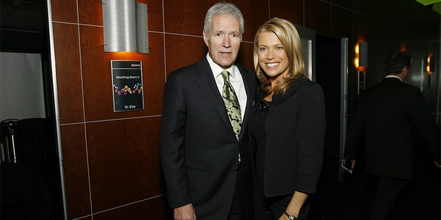 Television personalties Alex Trebek and Vanna White at the Sony CES booth held at the Las Vegas Convention Center on Jan. 7, 2008.