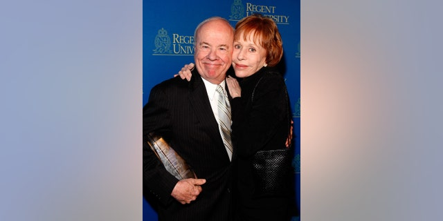 Actor Carol Burnett poses with Tim Conway who received the Lifetime Achievement award at the Regent University's School of Communication and the Arts 2nd Annual Candlelight Forum, awards evening held at the DGA Theatre, on April 1, 2008, in Hollywood, California. (Photo by Frazer Harrison/Getty Images)