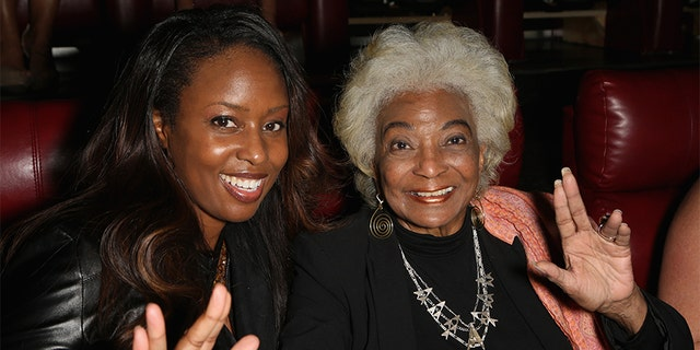 """Actress/producer Angelique Fawcette (L) and actress Nichelle Nichols attend a screening of the science fiction spoof film """"Unbelievable!!!!!"""" at the Brenden Theatres inside Palms Casino Resort on August 5, 2017, in Las Vegas, Nevada. (Photo by Gabe Ginsberg/Getty Images)"""