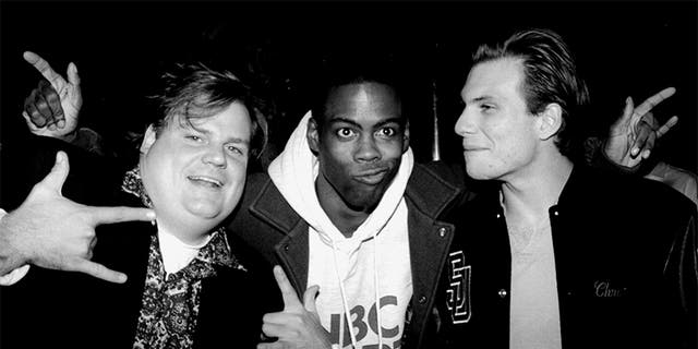 "Christian Slater (right) with ""Saturday Night Live"" cast members Chris Farley (left) and Chris Rock (center). — Photo by Richard Corkery/NY Daily News Archive via Getty Images"
