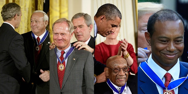 (L-R) Arnold Palmer, Jack Nicklaus, Charlie Sifford, and Tiger Woods are pictured receiving the Presidential Medal of Freedom in 2004, 2005, 2014, and 2019, respectively.