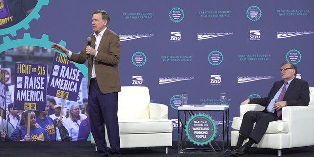 Former Colorado Gov. John Hickenlooper makes his case to union workers at the SEIU forum in Las Vegas on April 27, 2019.