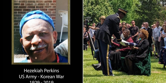Hezekiah Perkins was buried with full military honors in front of hundreds of strangers Saturday in Cincinnati.