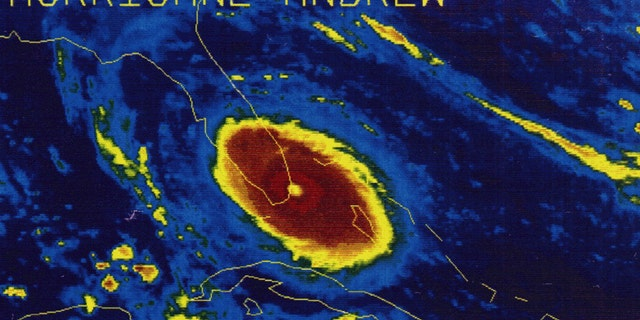 Hurricane Andrew made landfall in Florida as a Category 5 storm on Aug. 24, 1992.