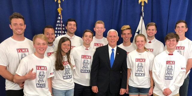 "Vice President Mike Pence met with ""I Like Mike"" supporters after his commencement address Saturday at Taylor University in Upland, Indiana."