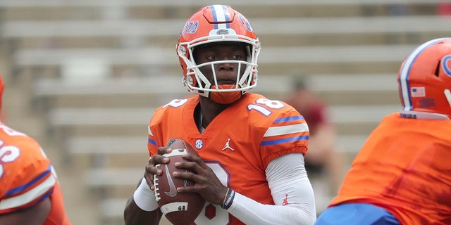 Apr 13, 2019; Gainesville, FL, USA; Florida Gators quarterback Jalon Jones (18) drops back during the second half at Ben Hill Griffin Stadium at Florida Field.