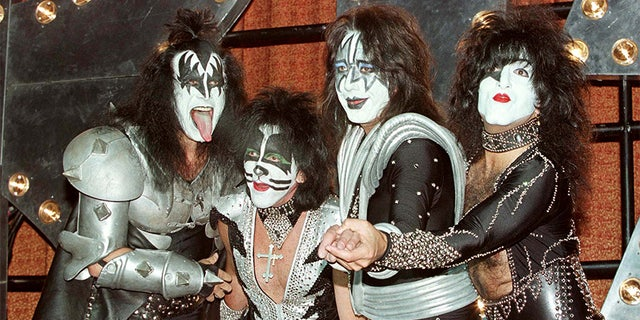 """Band members Gene Simmons, Peter Criss, Ace Frehley and Paul Stanley during a news conference at Mann's Chinese Theatre in Hollywood promoting their album """"Psycho Circus."""""""