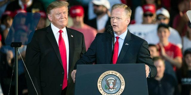 Pennsylvania Rep. Fred Keller addressing the audience at a Trump rally Monday night in Montoursville. (AP Photo/Matt Rourke)
