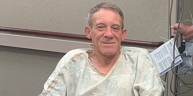 Kurt Kaser, 63, says he was unloading corn from one bin to another on April 19 when he accidentally stepped into a grain auger, trapping his left leg in between the rotating shaft.