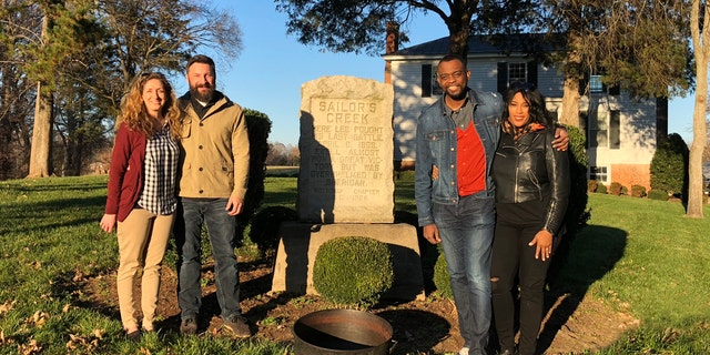 The Fords and Locketts at the location of the ancestors family farm where the last battle of the Civil War was fought.