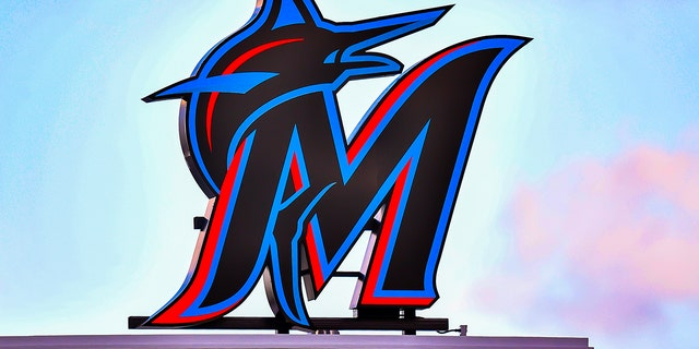 MIAMI, FL - APRIL 17: A detailed view of the new Marlins logo at Marlins Park on April 17, 2019 in Miami, Florida.