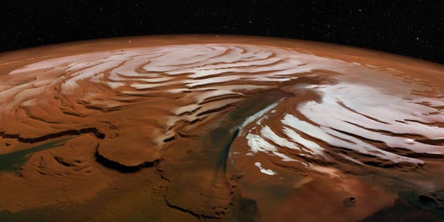 A vertically exaggerated view of Mars' north polar cap.