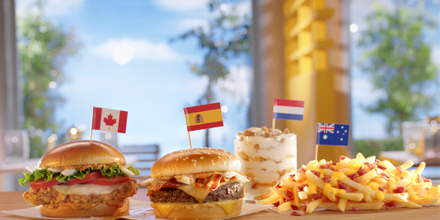 The available items will include, from left to right, will be the Tomato Mozzarella Chicken Sandwich (Canada), the Grand McExtreme Bacon Burger (Spain), the Stroopwafel McFlurry (The Netherlands), and the Cheesy Bacon Fries (Australia), the latter of which had already made it to U.S. menus earlier this year.