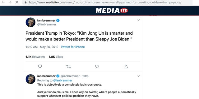 Foreign policy expert Ian Bremmer, president and founder of Eurasia Group and a New York University political science professor, got in trouble for a tweet of a fake quote attributed to President Trump.