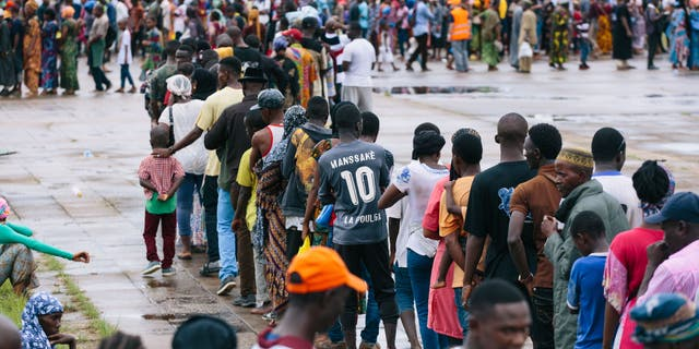 Locals in Guinea line up ahead of a Mercy Ships medical screening.