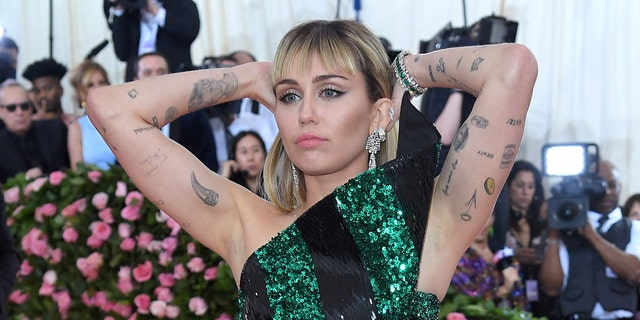 Miley Cyrus arrives for the 2019 Met Gala Celebration Camp: Notes On Fashion at the Metropolitan Museum of Art on May 06, 2019 in New York City