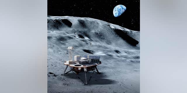 Artist's impression of a commercial lander on the lunar surface.
