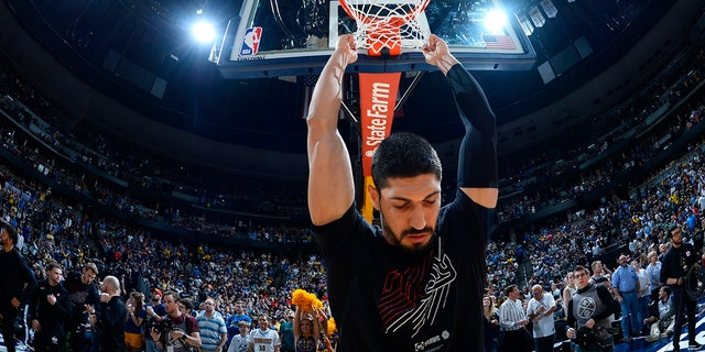 Enes Kanter signed a two-year free agent contract with the Celtics this past summer. (AP Photo/John Leyba)