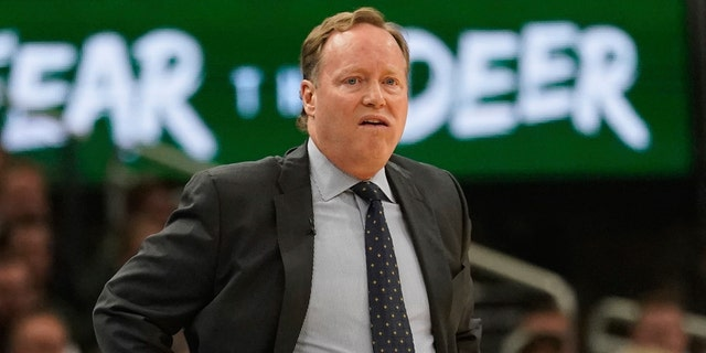 Milwaukee Bucks head coach Mike Budenholzer watches during the first half of Game 5 of a second round NBA basketball playoff series against the Boston Celtics Wednesday, May 8, 2019, in Milwaukee. (AP Photo/Morry Gash)