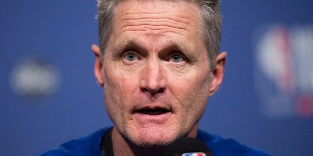 Golden State Warriors basketball head coach Steve Kerr opened up about his gun-control advocacy.. (Nathan Denette/The Canadian Press via AP)