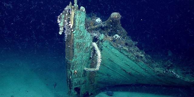 A close-up view of the shipwreck's bow.