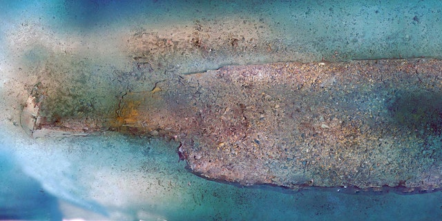 A low-resolution photomosaic of the shipwreck site, produced by Bureau of Ocean Energy Management Marine Archaeologist Scott Sorset. The photomosaic was created using video imagery collected during the dive. A higher-resolution version will eventually be developed.