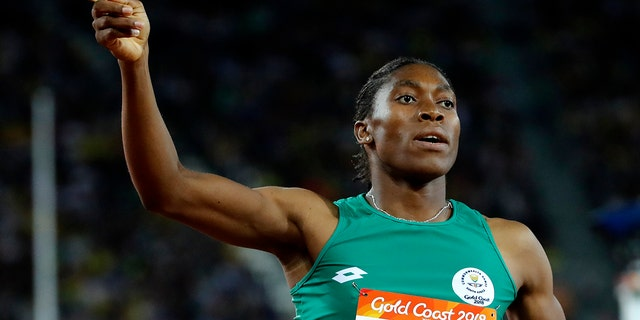 Caster Semenya celebrates after winning the woman's 800m final at Carrara Stadium during the 2018 Commonwealth Games on the Gold Coast, Australia.