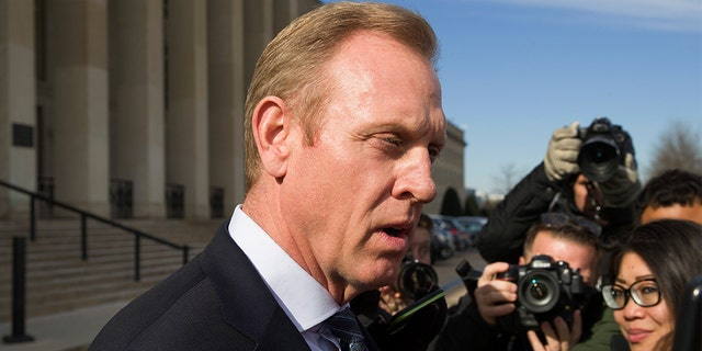 Acting Defense Secretary Pat Shanahan speaks with reporters outside the Pentagon, Jan. 28, 2019. (Associated Press)