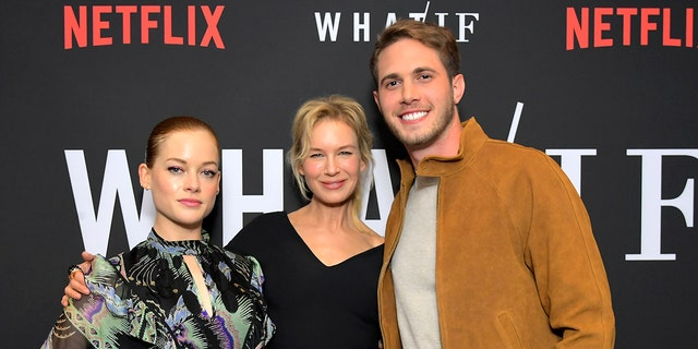 Jane Levy, left, Renée Zellweger and Blake Jenner attend Netflix's 'WHAT / IF' Special Screening at The London West Hollywood on May 16, 2019 in West Hollywood, Calif. (Photo by Charley Gallay/Getty Images for Netflix)