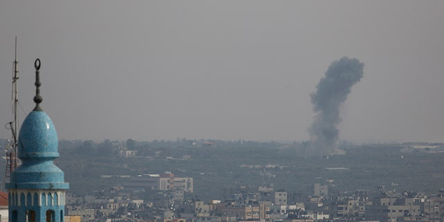 Smoke rises from an explosion after an Israeli airstrike in Gaza City, Sunday, May 5, 2019. The Israeli military said Sunday it had responded to more than 600 rockets fired from Gaza with more than 250 airstrikes against the besieged Palestinian enclave. (AP Photo/Hatem Moussa)