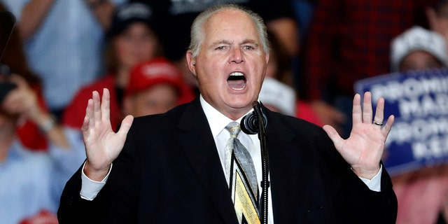 "Radio personality Rush Limbaugh, seen here at a November 2018 rally for President Trump in Missouri, announced Monday he's been diagnosed with ""advanced"" lung cancer. (AP Photo/Jeff Roberson, File)"