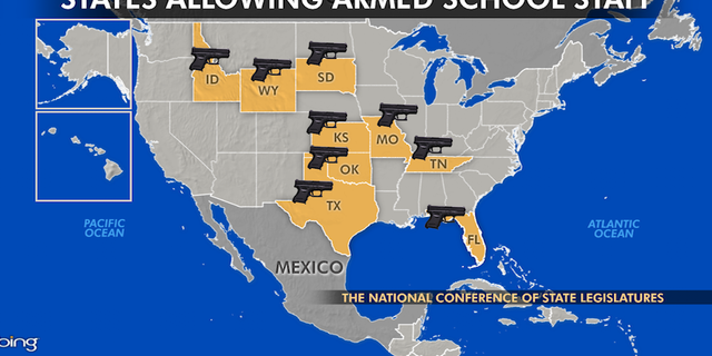 At least nine states—Idaho, Florida, Kansas, Missouri, Oklahoma, South Dakota, Tennessee, Texas and Wyoming—exempt school employees from their ban on firearms on K-12 school grounds.