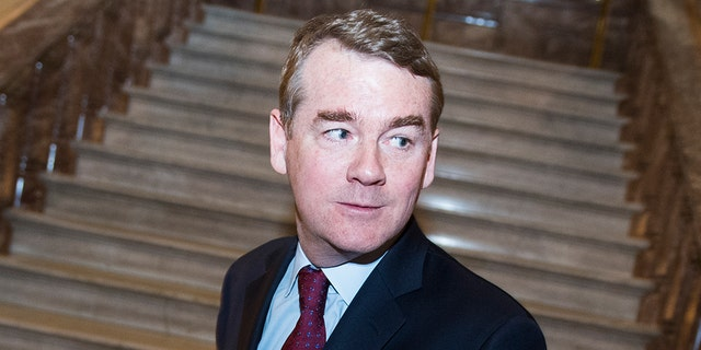 UNITED STATES - JANUARY 24: Sen. Michael Bennet, D-Colo., makes his way to the Senate floor in the Capitol before a vote on a continuing resolution to re-open the government which subsequently failed, on Thursday, January 24, 2019. (Photo By Tom Williams/CQ Roll Call via AP Images)
