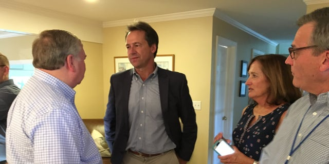 Steve Bullock headlines a house party in Hampton, New Hampshire in August 2018