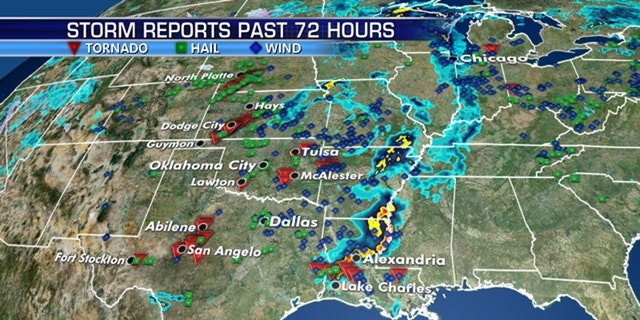 There have been numerous severe weather reports over weekend across the Southern Plains.