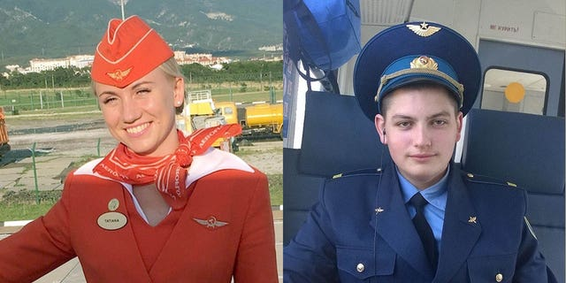 Tatyana Kasatkina (left) and Maxim Moiseev (right) are being praised for their heroic efforts to save passengers from the burning aircraft. Moiseev reportedly stayed behind, and perished in the flames.