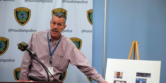 Sgt. Mark Holbrook gives an update about Maleah Davis, a four-year-old girl missing since Saturday night, during a news conference at the Houston Police Department headquarters, Sunday.