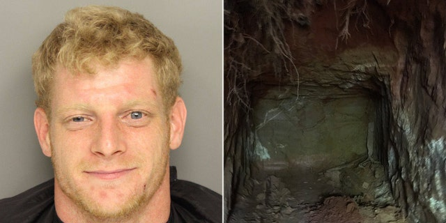 "Timothy Glenn Painter, 26, was arrested after more than $200,000 in stolen items were found in a ""sophisticated network of underground tunnels"" at his property in South Carolina."