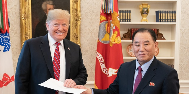 President Trump meeting with Kim Yong Chol this past January 18 in the Oval Office. (Official White House Photo)