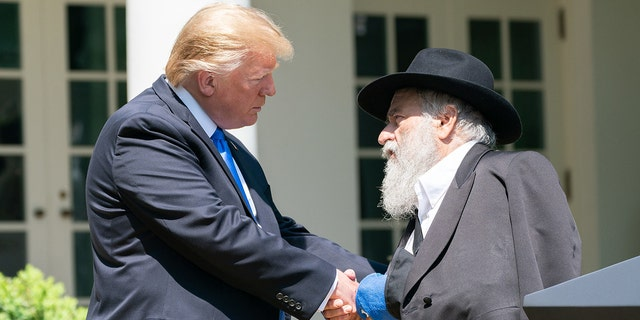 President Trump meets with Rabbi Yisroel Goldstein of the Chabad of Poway Synagogue at the White House, May 2, 2019.<br>
