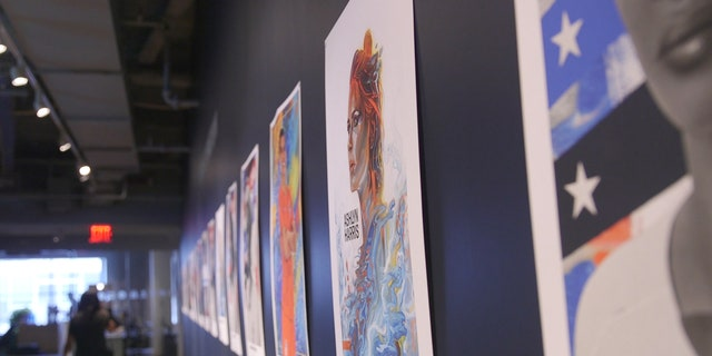 Posters of the U.S. Women's National Team roster during a media day at the Twitter offices in New York City.