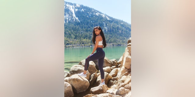Cheslie Kryst, Miss North Carolina USA 2019, during a visit to Lake Tahoe on April 24, 2019.